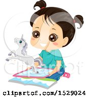 Clipart Of A Happy Girl Watching A Unicorn Emerge From A Computer Tablet Royalty Free Vector Illustration