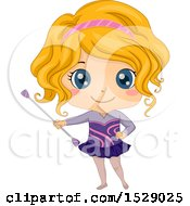 Clipart Of A Girl Twirling A Baton Royalty Free Vector Illustration