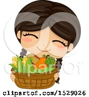 Clipart Of A Happy Native American Girl Holding A Basket Of Vegetables Royalty Free Vector Illustration