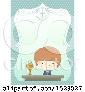 Clipart Of A Sketched Border With A Boy At His First Communion Royalty Free Vector Illustration