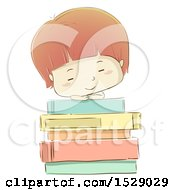 Clipart Of A Sketched Boy Sleeping On A Stack Of Books Royalty Free Vector Illustration