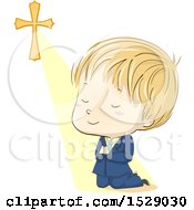 Clipart Of A Sketched Blond Boy Praying And Kneeling In His First Communion Suit Royalty Free Vector Illustration