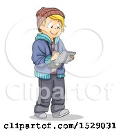 Clipart Of A Blond Boy Taking Notes And Wearing A Camera Royalty Free Vector Illustration