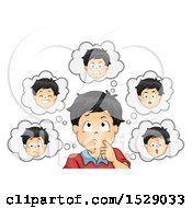 Clipart Of A Boy Thinking About Emotions Royalty Free Vector Illustration