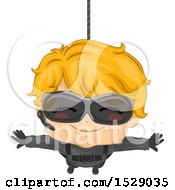 Clipart Of A Secret Agent Boy Hanging From A Wire Royalty Free Vector Illustration