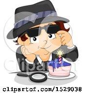 Secret Agent Boy Enjoying A Birthday Cake Slice