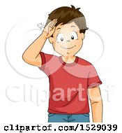 Clipart Of A Boy Saying Hello With Sign Language Royalty Free Vector Illustration