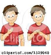Clipart Of A Boy Saying My Name In Sign Language Royalty Free Vector Illustration