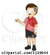 Clipart Of A Happy Boy Presenting Royalty Free Vector Illustration