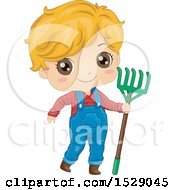 Clipart Of A Country Farmer Boy Holding A Rake Royalty Free Vector Illustration
