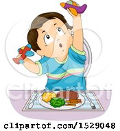 Clipart Of A Toddler Boy Playing With Airplanes Instead Of Eating His Food Royalty Free Vector Illustration by BNP Design Studio