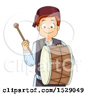 Clipart Of A Muslim Boy With A Ramadan Drum Royalty Free Vector Illustration