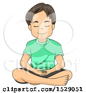 Clipart Of A Relaxed Boy Meditating Royalty Free Vector Illustration