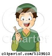 Clipart Of A Boy Holding A Dental Miswak Stick Royalty Free Vector Illustration