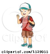 Clipart Of A Boy Waving And Wearing A Backpack Royalty Free Vector Illustration