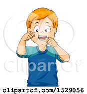 Clipart Of A Happy Boy Flossing His Teeth Royalty Free Vector Illustration