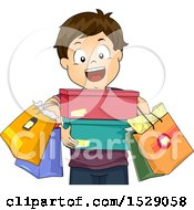 Happy Boy Carrying Shopping Bags And Shoe Boxes