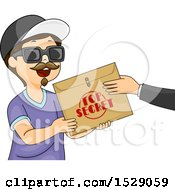 Clipart Of A Boy Wearing A Disguise And Accepting A Top Secret Envelope Royalty Free Vector Illustration