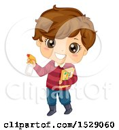 Clipart Of A Boy Holding A Gardening Book And Spray Bottle Royalty Free Vector Illustration