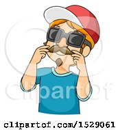 Clipart Of A Boy Wearing A Disguise Royalty Free Vector Illustration