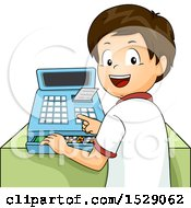 Brunette Boy Operating A Cash Register