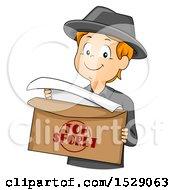 Clipart Of A Secret Agent Boy Opening A Top Secret Envelope Royalty Free Vector Illustration