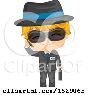 Clipart Of A Secret Agent Boy In A Suit Royalty Free Vector Illustration