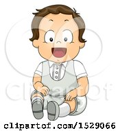 Poster, Art Print Of Happy Toddler Boy In A White Baptismal Suit