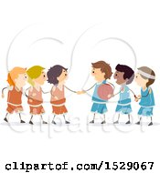 Clipart Of A Group Of Boys On Basketball Teams Shaking Hands Royalty Free Vector Illustration