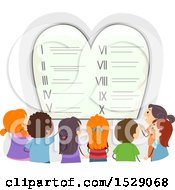 Clipart Of A Ten Commandments Tablet With Children Observing Royalty Free Vector Illustration