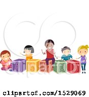 Clipart Of A Group Of School Children With Vowel Letter Blocks Royalty Free Vector Illustration