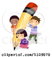 Poster, Art Print Of Group Of School Children Holding Up A Giant Pencil