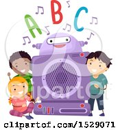 Poster, Art Print Of Group Of Children With A Robot Listening To Phonics
