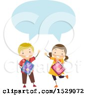 Clipart Of A Boy And Girl Holding School Books And Talking Royalty Free Vector Illustration
