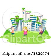 Group Of Children Playing In A Green City Park