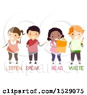 Poster, Art Print Of Group Of School Childre Learning Listen Speak Read And Write