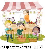 Clipart Of A Teacher And Students Working At A Farmers Market Booth Royalty Free Vector Illustration
