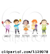 Group Of Children With Sweet Sour Bitter Salty And Spicy Foods
