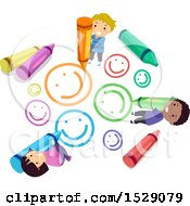 Poster, Art Print Of Group Of School Children Drawing Smiley Faces With Crayons
