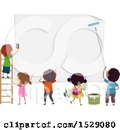 Clipart Of A Group Of Children Posting A Large Sign Royalty Free Vector Illustration