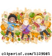 Clipart Of A Group Of Children Lying On Autumn Leaves With Harvest Produce Royalty Free Vector Illustration