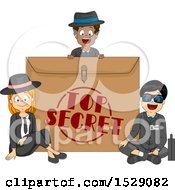 Clipart Of A Group Of Secret Agent Spy Kids Around An Envelope Royalty Free Vector Illustration