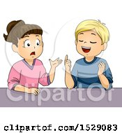 Clipart Of A School Boy And Girl Debating Royalty Free Vector Illustration