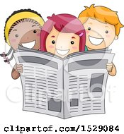 Poster, Art Print Of Group Of Happy Children Reading A Newspaper