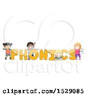 Group Of Children Around PHONICS Text