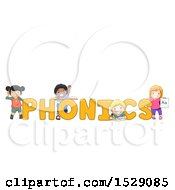 Poster, Art Print Of Group Of Children Around Phonics Text