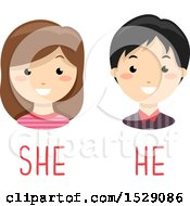 Poster, Art Print Of Boy And Girl Over He And She Gender Text
