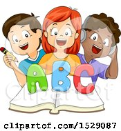 Clipart Of A Group Of School Children Writing Reading And Listening To The Alphabet Over A Book Royalty Free Vector Illustration