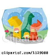 Clipart Of A Boy And Girl Playing At Arrow Houses Royalty Free Vector Illustration