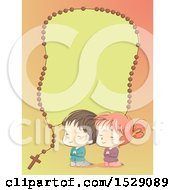 Clipart Of A Sketched Boy And Girl Praying Under A Rosary Border Royalty Free Vector Illustration